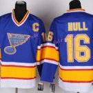 Discount St. Louis Blues #16 Brett Hull Jersey Blue Yellow Stitched Hockey Jerseys C Patch