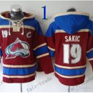 Colorado Avalanche #19 joe sakic  Hockey Hooded Stitched Old Time Hoodies Sweatshirt Jerseys