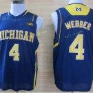 2017 College Michigan Wolverines Jerseys Big 4 Chirs Webber Blue Shirt Uniform