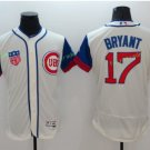 2016 World Series Champions Patch Chicago Cubs 17 Kris Bryant Cream Baseball Jersey Style 2