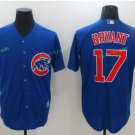 2016 World Series Champions Patch Chicago Cubs 17 Kris Bryant Blue Baseball Jersey Style 2