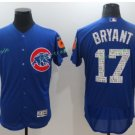 2016 World Series Champions Patch Chicago Cubs 17 Kris Bryant Blue Baseball Jersey Style 1