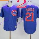 2016 Majestic Official Cool Base Stitched Chicago Cubs #21 sammy sosa Blue Baseball Jerseys