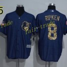 8 Cal Ripken Jersey 1989 Cooperstown Baltimore Orioles Baseball Jerseys Throwback Blue