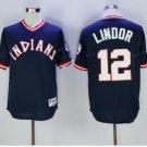 Cleveland Indians 12 Francisco Lindor Jersey 2016 World Series Baseball Jerseys Blue Style 2