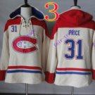 montreal canadiens #31 carey price White hoodie Hockey Hooded Sweatshirt Jerseys