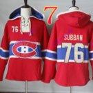 montreal canadiens P.K. SUBBAN #76 Red hoodie Hockey Hooded Sweatshirt Jerseys