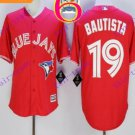 2016 Majestic Official Stitched 40th Toronto Blue Jays #19 jose bautista Red Jerseys Style 1