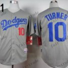 Los Angeles Dodgers #10 Justin Turner Grey 2015 Baseball Jersey Authentic Stitched