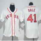 2017 Women Majestic Stitched Boston Red sox #41 Chris Sale White Cool Base Jersey