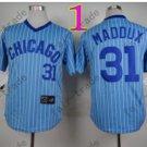 Chicago Cubs Baseball Jersey 31 Greg Maddux Blue Shirt Stitched Authentic Baseball Jersey Style 2