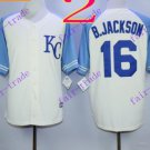 2016 Majestic Official Cool Base Stitched KC Kansas City Royals #16 Bo Jackson White Blue