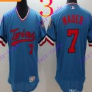 2016 Flexbase Stitched Minnesota Twins Blank 7 Mauer Blue Baseball Jersey