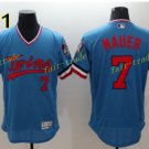 Minnesota Twins 7 Joe Mauer Jersey Flexbase Throwback Baseball Jerseys Uniforms Blue Style 1