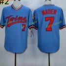 Minnesota Twins 7 Joe Mauer Jersey Flexbase Throwback Baseball Jerseys Uniforms Blue Style 2