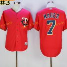 Minnesota Twins 7 Joe Mauer Jersey Flexbase Throwback Baseball Jerseys Uniforms Red Style 1