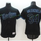 2017  Stitched Los Angeles Dodgers 34 Fernando Valenzuela Black Baseball Jerseys Road Jersey