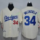2017  Stitched Los Angeles Dodgers 34 Fernando Valenzuela Cream Baseball Jerseys Road Jersey