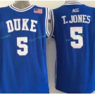 Duke Blue Devils Basketball Jerseys College Men 5 Tyus Jones Blue Stitched