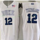 Duke Blue Devils Basketball Jerseys College Men 12 Justise Winslow White Stitched
