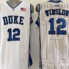 Duke Blue Devils Basketball Jerseys College Men 12 Justise Winslow White Blue Stitched