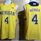 2017 College Michigan Wolverines Jerseys Big 4 Chirs Webber Yellow Shirt Uniform
