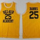 25 Carlton Banks Jerseys BEL-AIR Basketball BEL AIR Academy Yellow Shirt