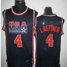4 Christian Laettner  Shirts Uniforms 1992 USA Dream Jersey Fashion Team Color Black