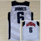 Dream Team 2017 USA Jersey 6 LeBron James White Basketball Jerseys Best