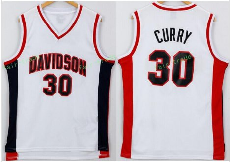 Davidson Wildcats 30 Stephen Curry College Jerseys White Men Basketball Jersey All Stitched