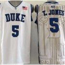 5 Tyus Jones Duke Blue Devils College Basketball Jerseys White Embroidery Logos Style 1