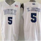 5 Tyus Jones Duke Blue Devils College Basketball Jerseys White Embroidery Logos Style 2