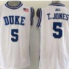 5 Tyus Jones Duke Blue Devils College Basketball Jerseys White Embroidery Logos Style 3