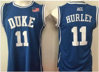 11 Bobby Hurley Duke Blue Devils College Basketball Jerseys Blue Embroidery Logos Style 2