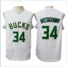 men new 34# Giannis Antetokounmpo White jersey basketball jerseys High quality embroidery