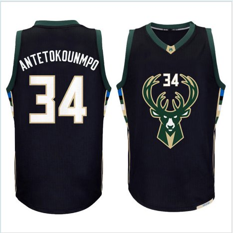 34# Giannis Antetokounmpo basketball jersey 100% stitched Black Fashion Replica Jerseys