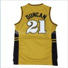 Wake Forest Demon Deacons Tim Duncan jersey 21 College Basketball Jerseys 100% Stitched Yellow