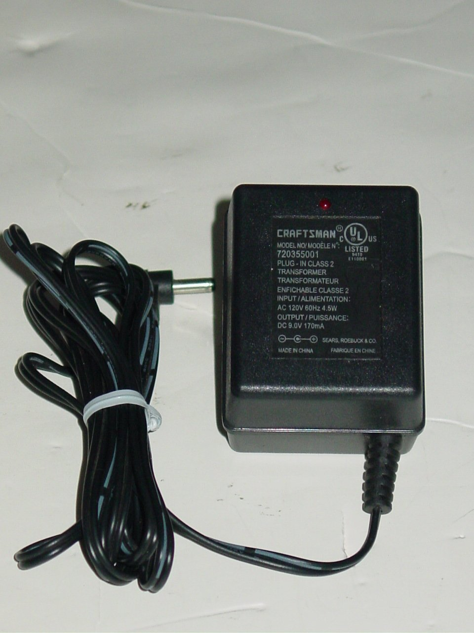 Craftsman 720355001 Charger AC Adapter 9V 170mA for 315.117790 Cordless Screwdriver