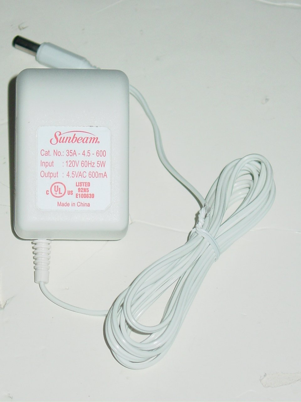 Sunbeam 35A-4.5-600 AC Adapter 4.5VAC 600mA