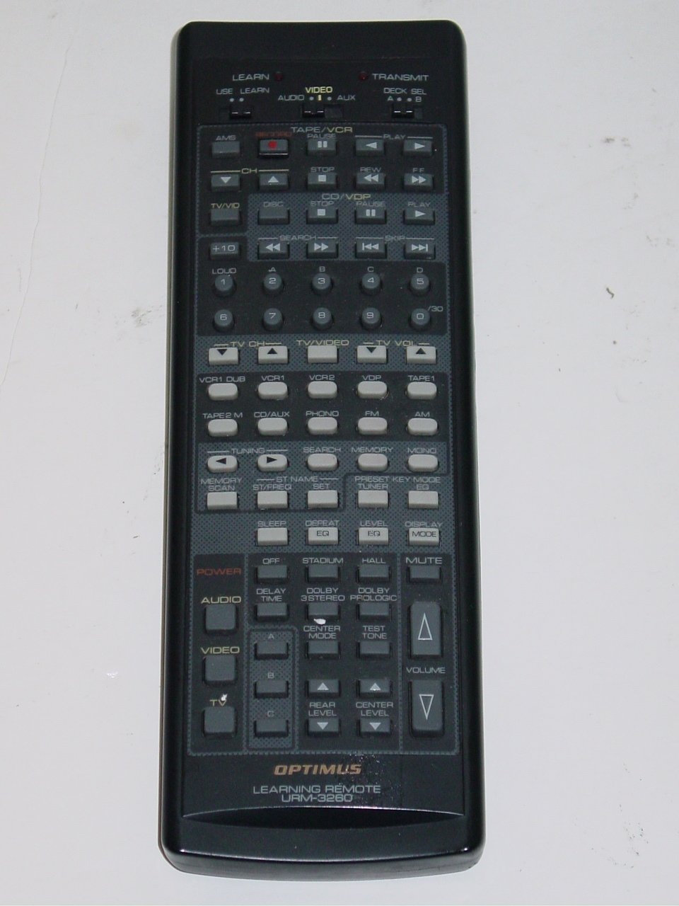 Optimus URM-3260 TV DVD Learning AV Receiver Remote Control RadioShack 31-3022
