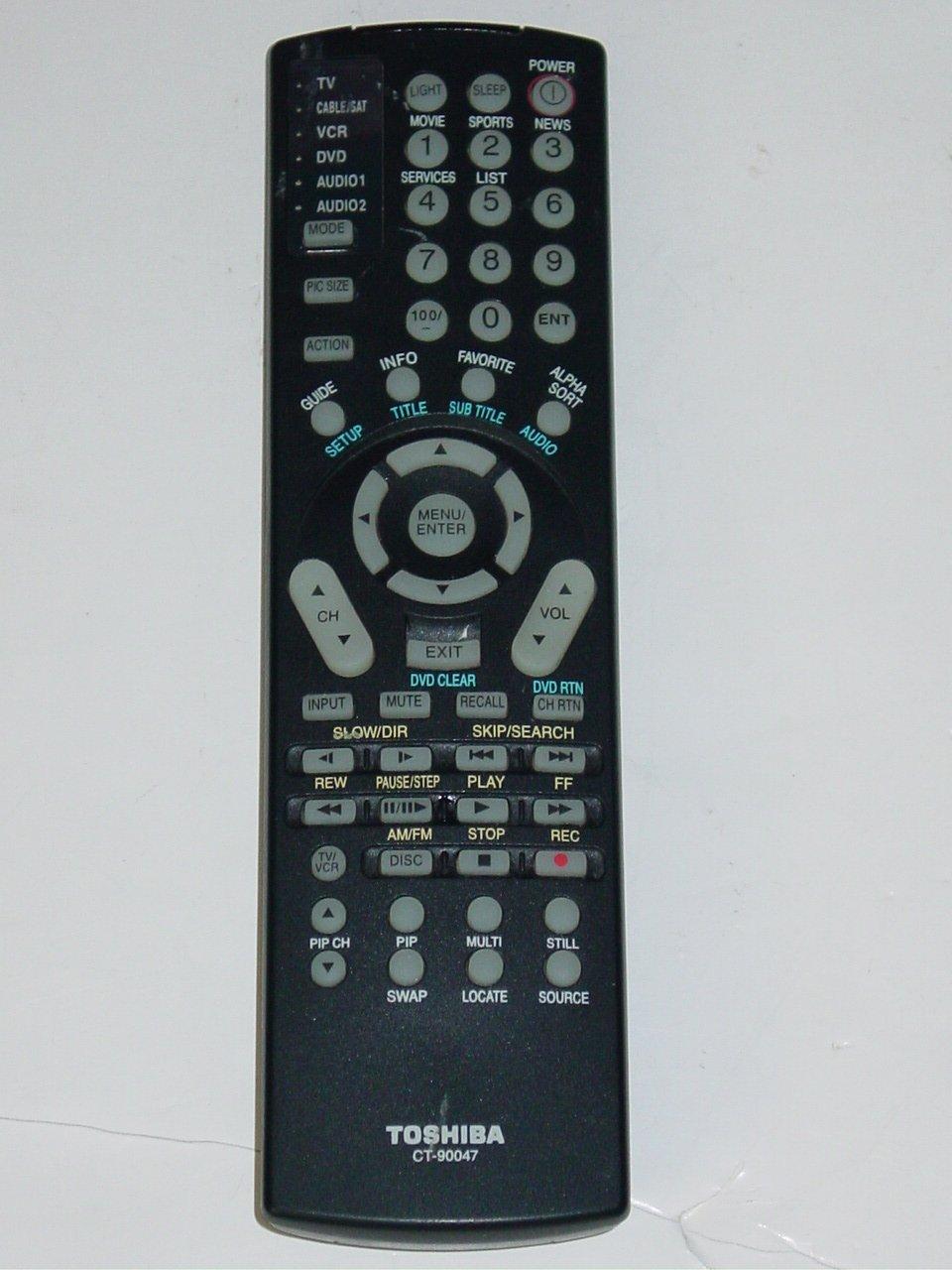 Toshiba CT-90047 TV DVD VCR A/V Remote Control for 36HFX70 36HFX71 36HFX72