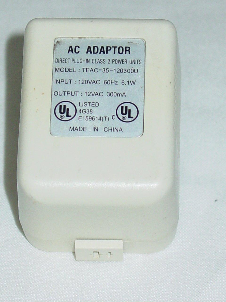 TEAC-35-120300U (without cord) AC Adapter 12VAC 300mA