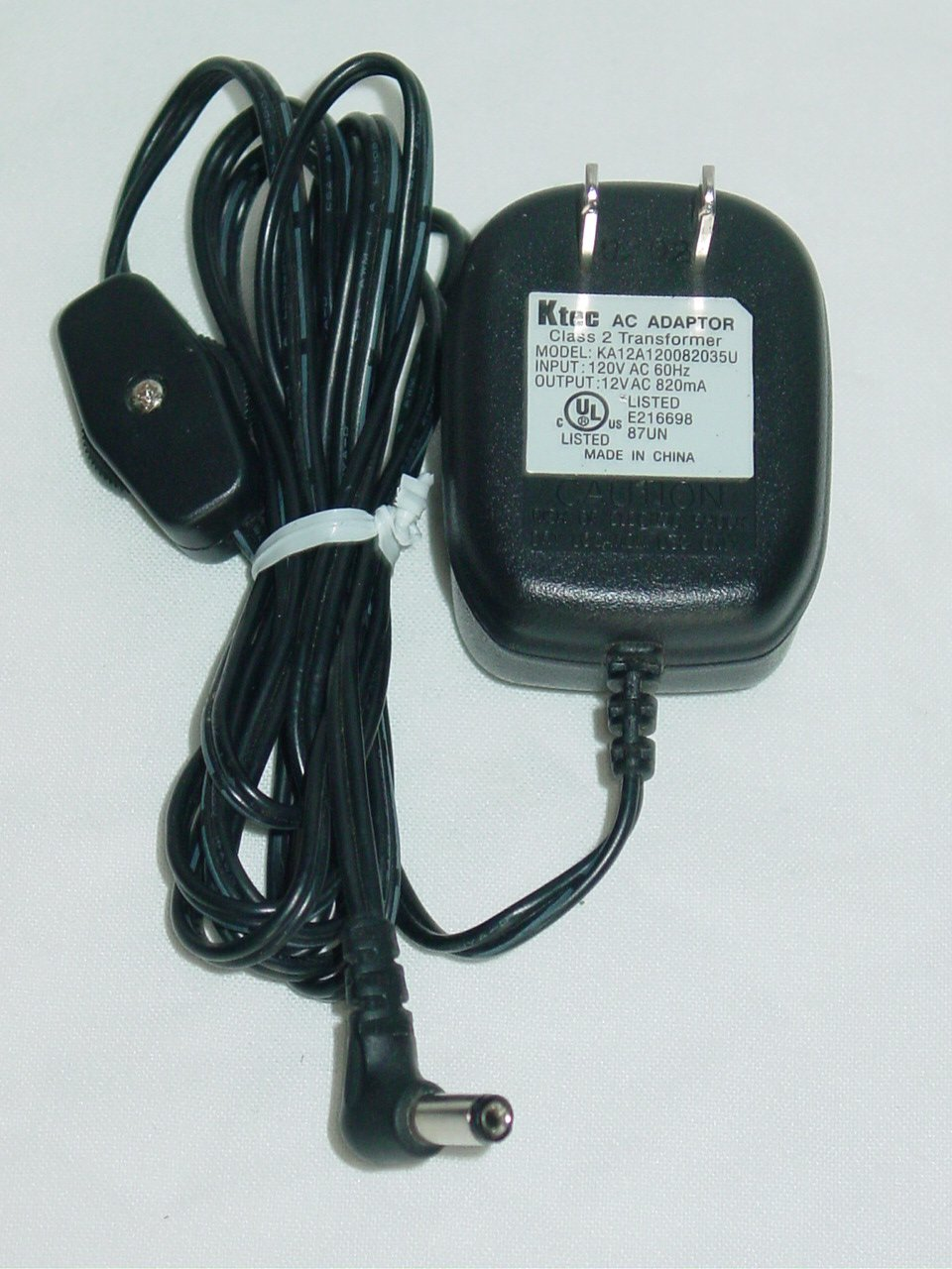 Ktec KA12A120082035U AC Adapter w/ Switch (On & Off Button) 12VAC 820mA