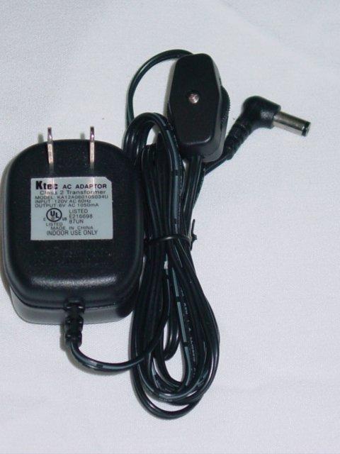 Ktec KA12A060105034U AC Adapter w/ (Off & On) Switch 6VAC 1050mA