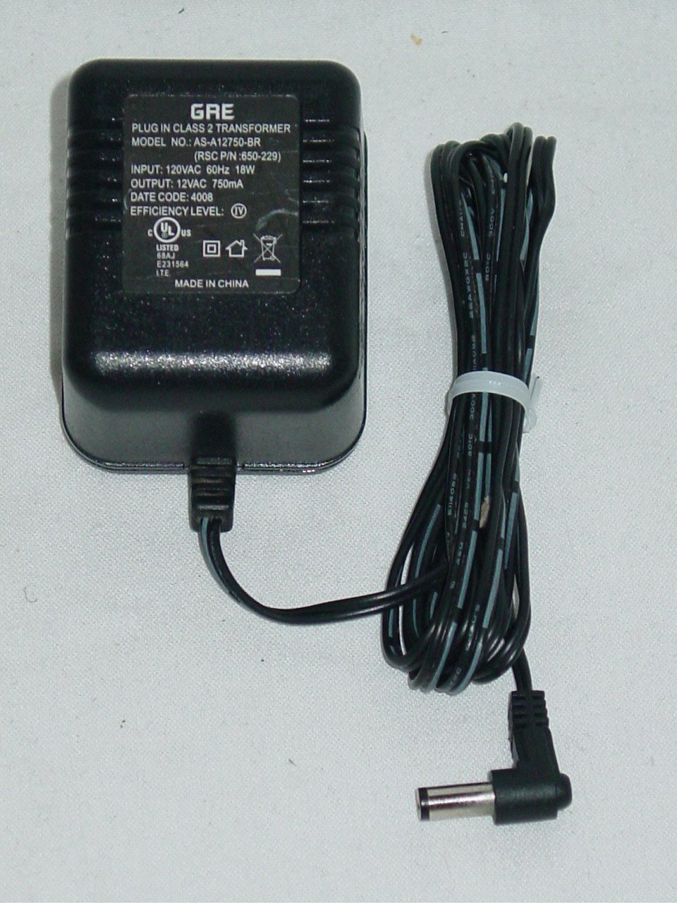 GRE AS-A12750-BR AC Adapter 650-229 12VAC 750mA