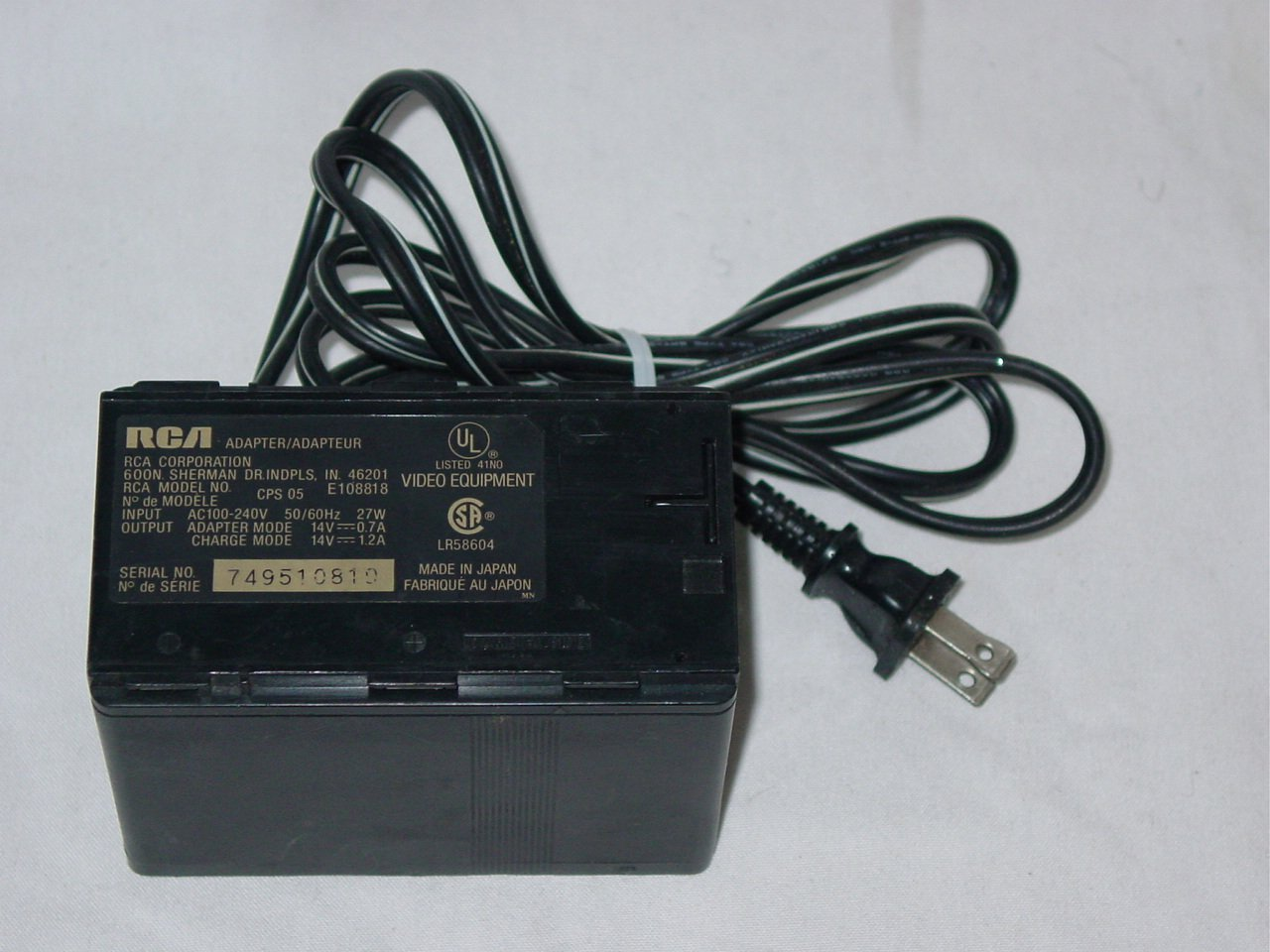 Thomson RCA CPS05 Camcorder Battery Charger AC Adapter