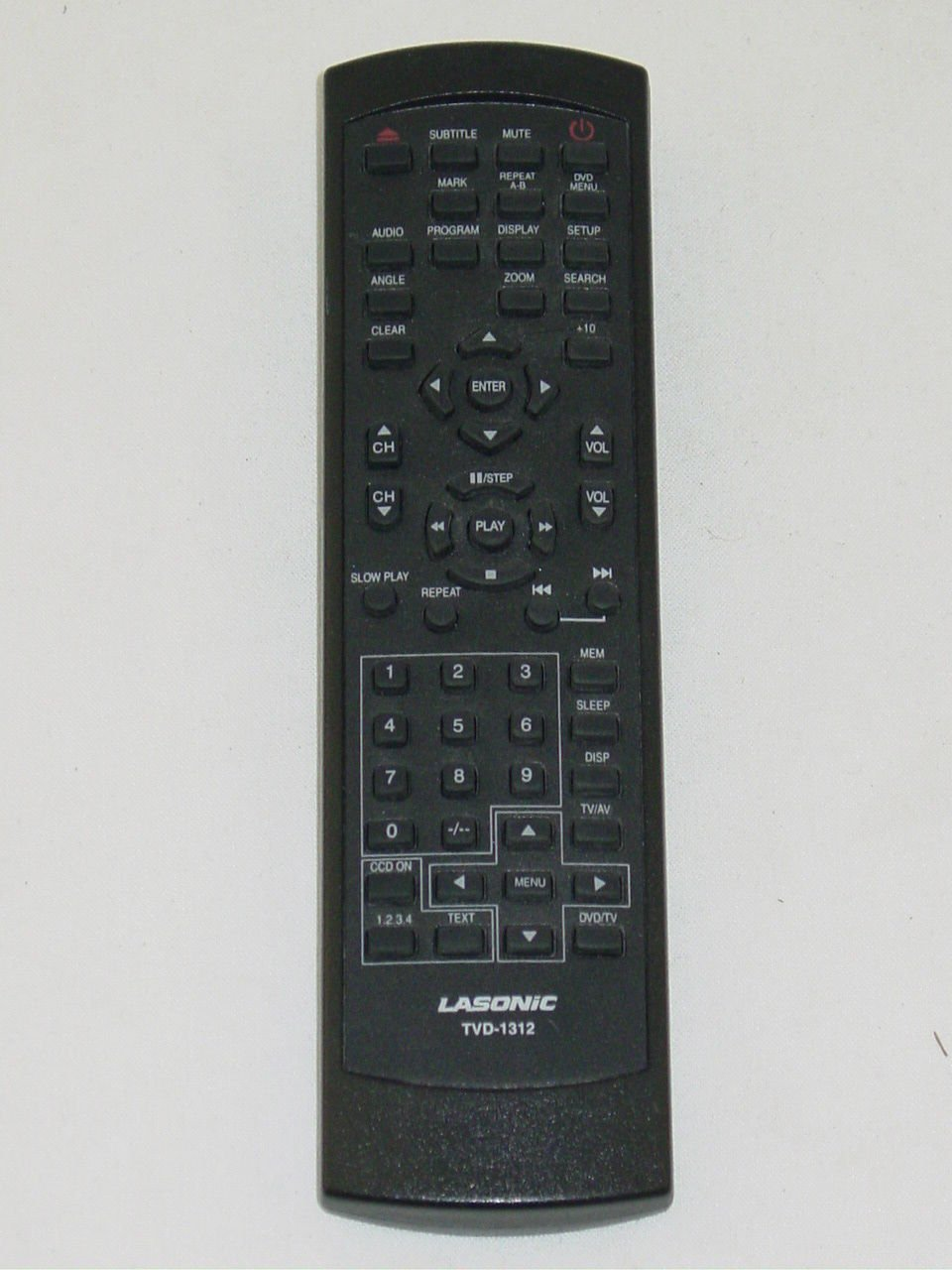 Lasonic TVD-1312 TV DVD Player Remote Control (missing battery cover)