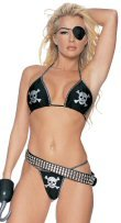 Skull Design Bikini & Thong Set with Glitter Trim
