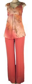 Missy 2 Piece Pant Sets with Sleeveless Baby Doll Style Top