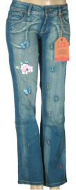 Bebina Jeans - Junior Faded Wash Jeans with Butterfly Prints and Stitched Designs
